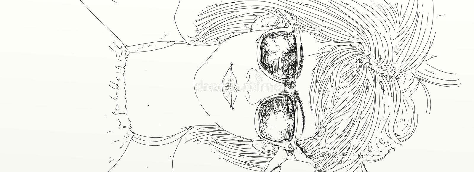 A girl lying with glasses. Banner with portraits of women for cosmetics and fashion royalty free illustration
