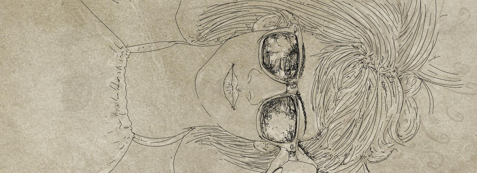 A girl lying with glasses. Banner with portraits of women for cosmetics and fashion vector illustration
