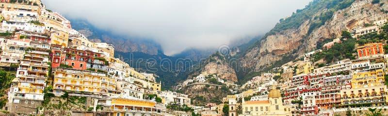 Banner with Positano, Amalfi Coast, Campania, Italy. Beautiful View. Of Positano along Amalfi Coast in Italy in summer. Morning view cityscape on coast line of royalty free stock photo