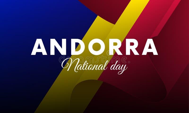 Banner or poster of Andorra National Day celebration. Waving flag. Vector illustration. Banner or poster of Andorra National Day celebration. Waving flag stock illustration