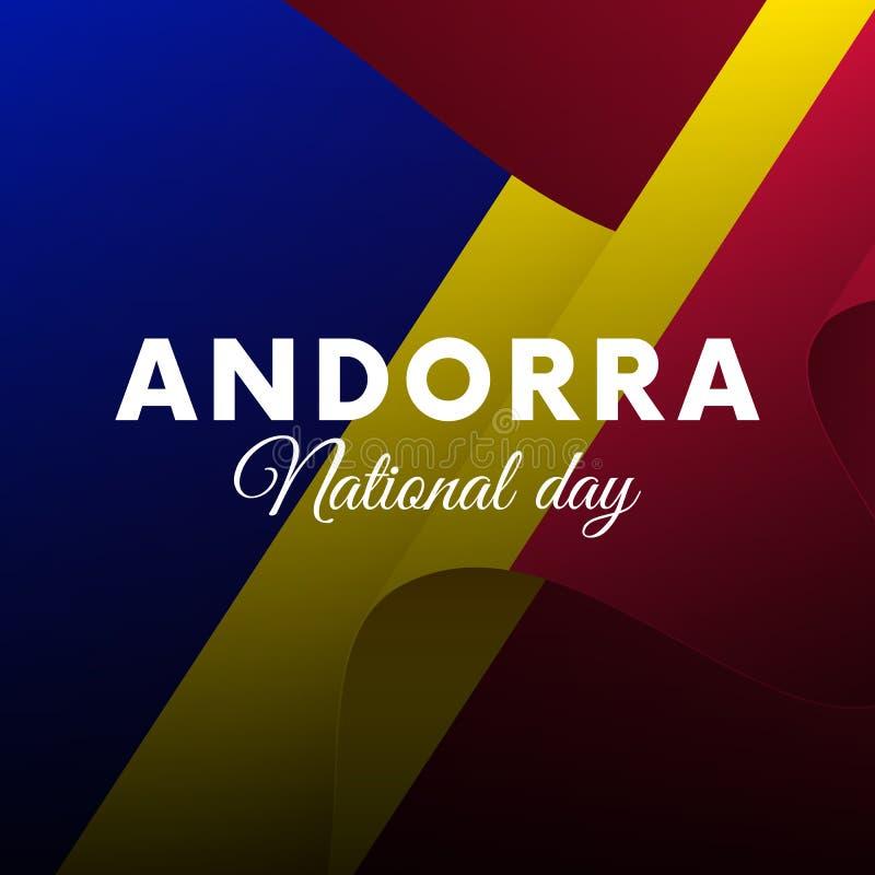 Banner or poster of Andorra National Day celebration. Waving flag. Vector illustration. royalty free illustration