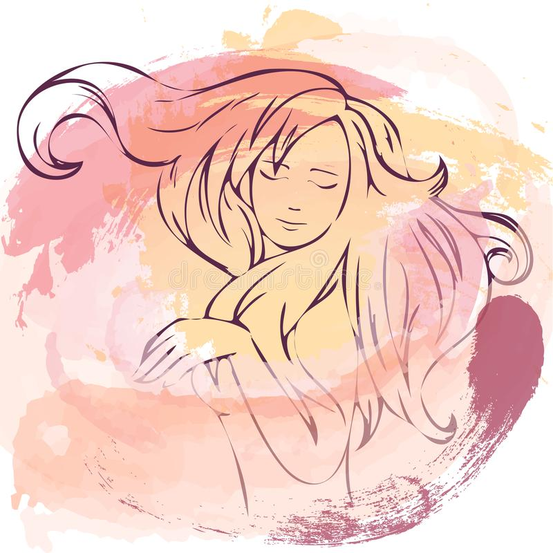 Banner, poster with dansing girl. Watercolor effects stock illustration