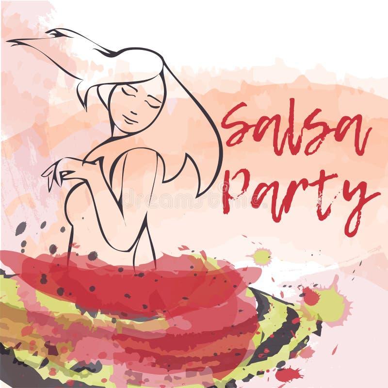 Banner, poster with dansing girl. Salsa Party vector illustration