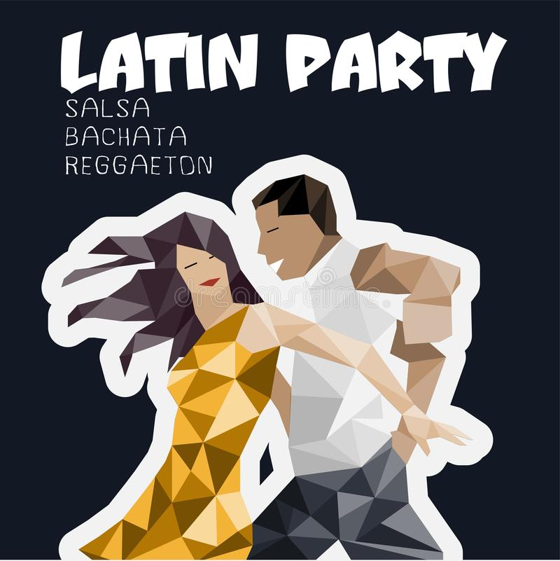 Banner, poster with dansing pair. Salsa Party stock illustration
