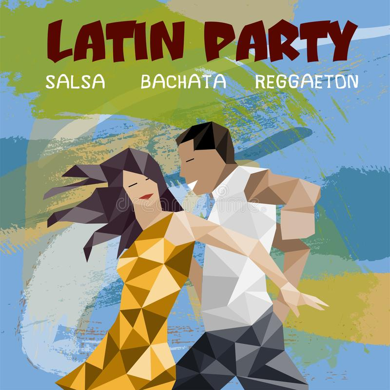 Banner, poster with dansing pair. Salsa Party vector illustration