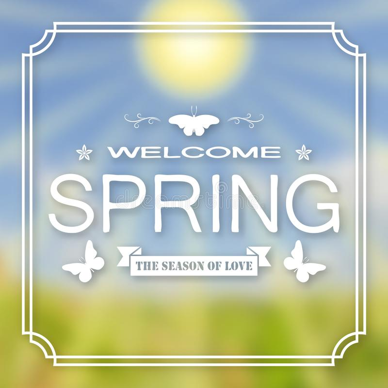 Banner, poster for design. Hi spring. Welcome. Against the background of a blurry sky, a green lawn, and the sun. stock illustration