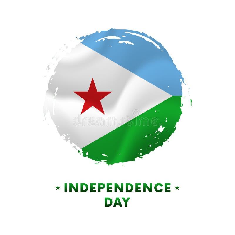 Banner or poster of Djibouti Independence Day celebration. Waving flag of Djibouti, brush stroke background. Vector illustration. vector illustration
