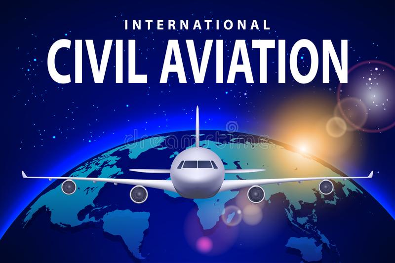 Banner, poster, flyer with Airplane and earth. Plane on sunny blue background, civil aviation airliner. Commercial. Airliner travel concept design. Vector royalty free illustration