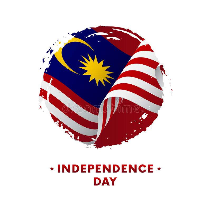 Banner or poster of Malaysia Independence Day celebration. Waving flag of Malaysia, brush stroke background. Vector illustration. stock illustration