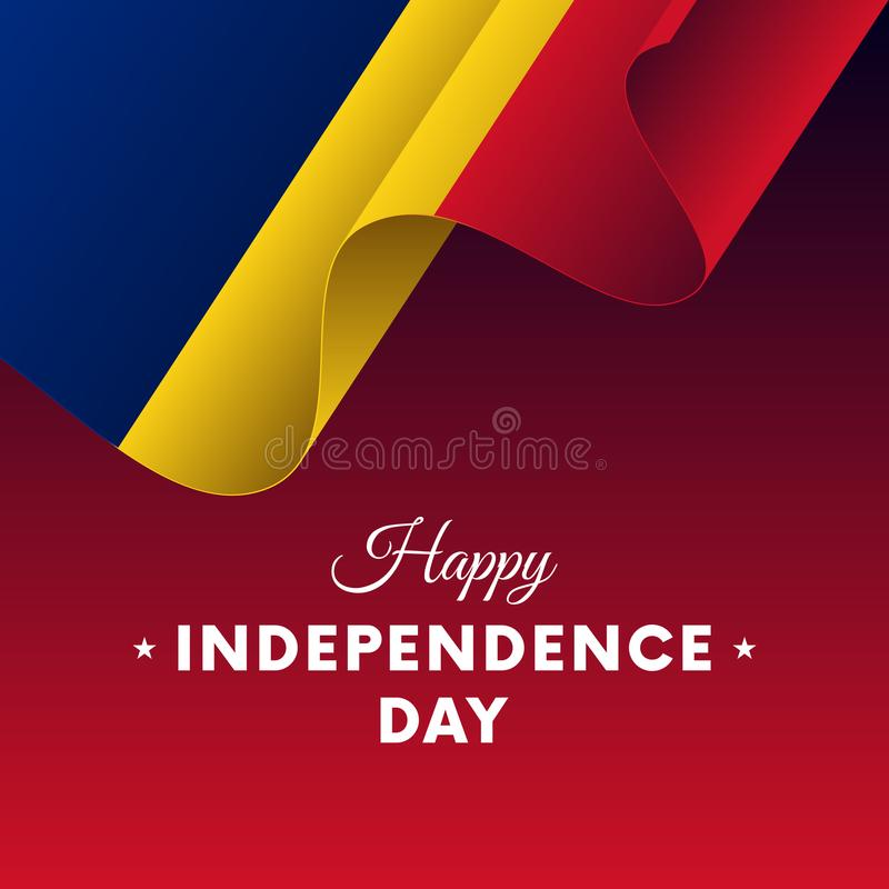 Banner or poster of Romania independence day celebration. Waving flag. Vector illustration. vector illustration