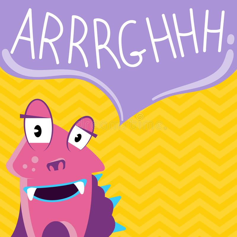 Vector cute cartoon screaming monster with speech bubble on zig zag background vector illustration