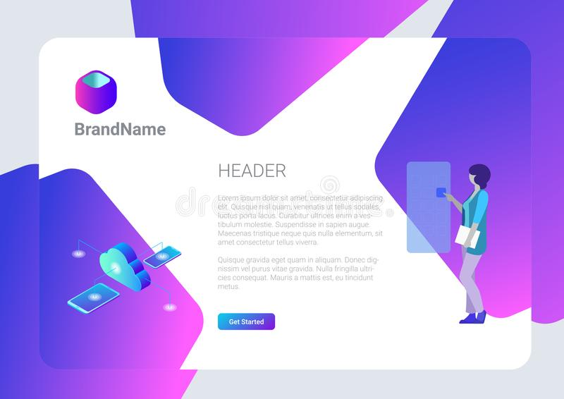 Banner Poster Vector Design Template Hitech style.  Isometric Cloud computing storage Mobile phone illustration stock illustration