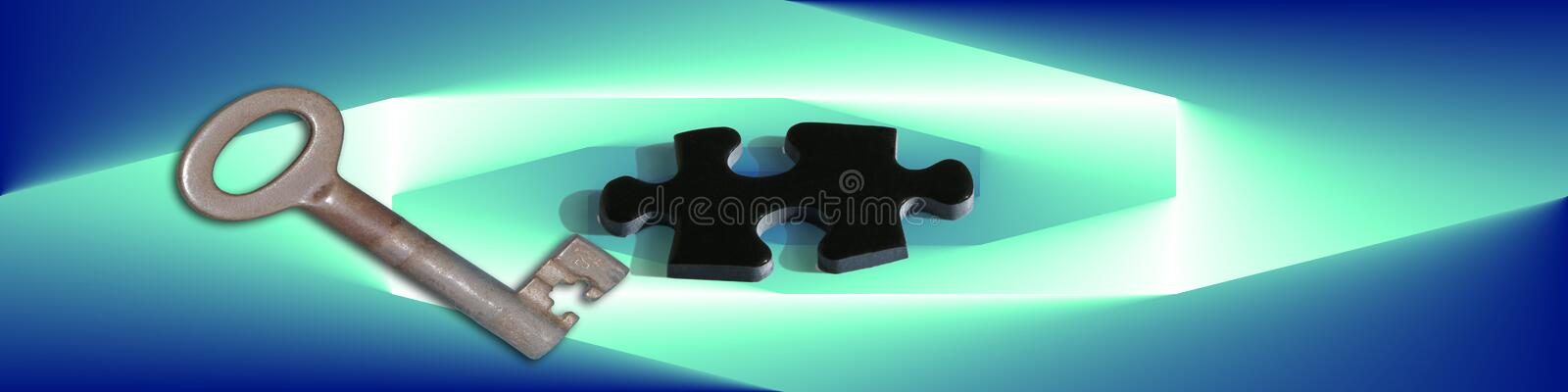 Banner Puzzles And Keys. Digital banner / header with a puzzle- piece and a key symbols for having (business) problems and finding the solution stock illustration