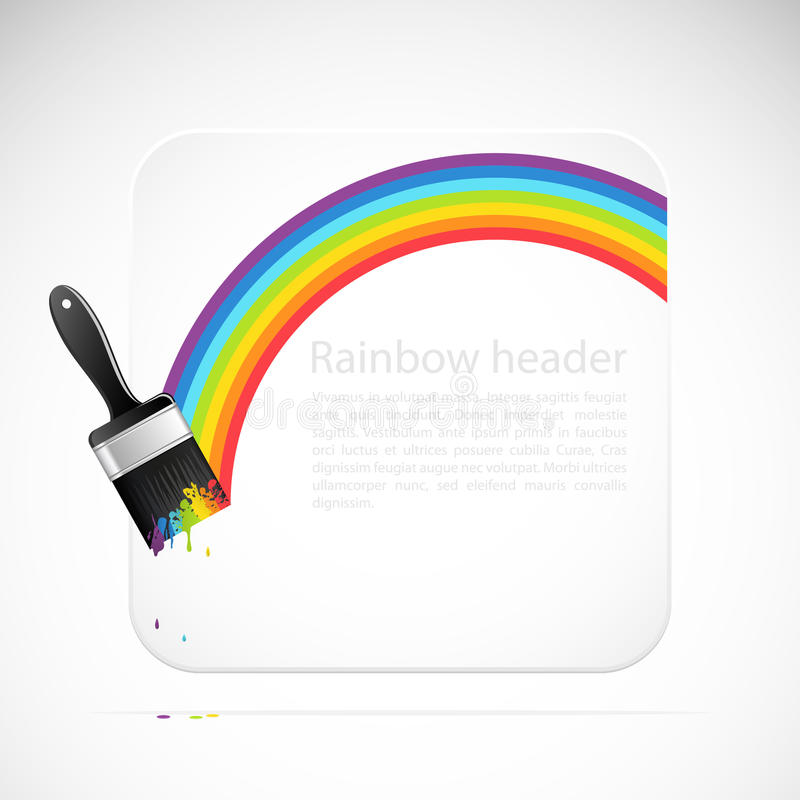 Banner with rainbow brush royalty free illustration