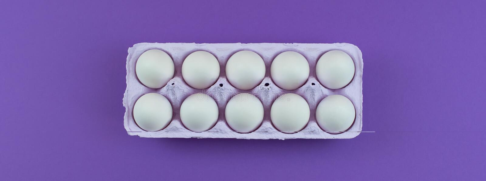 Banner Rectangular box with chicken eggs. royalty free stock images