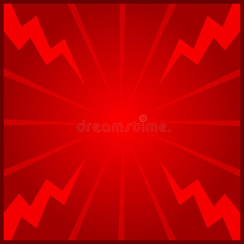 Banner red frame template blank on graphic light zoom thunder beam effect background red and copy space for message advertising vector illustration
