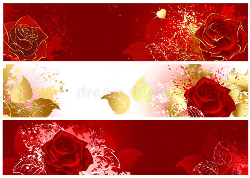 Download Banner with red roses stock vector. Image of love, passion - 28599315