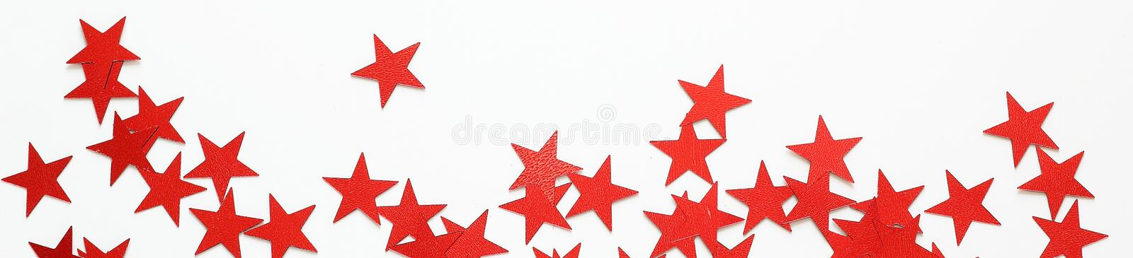 Banner of Red stars confetti stock image