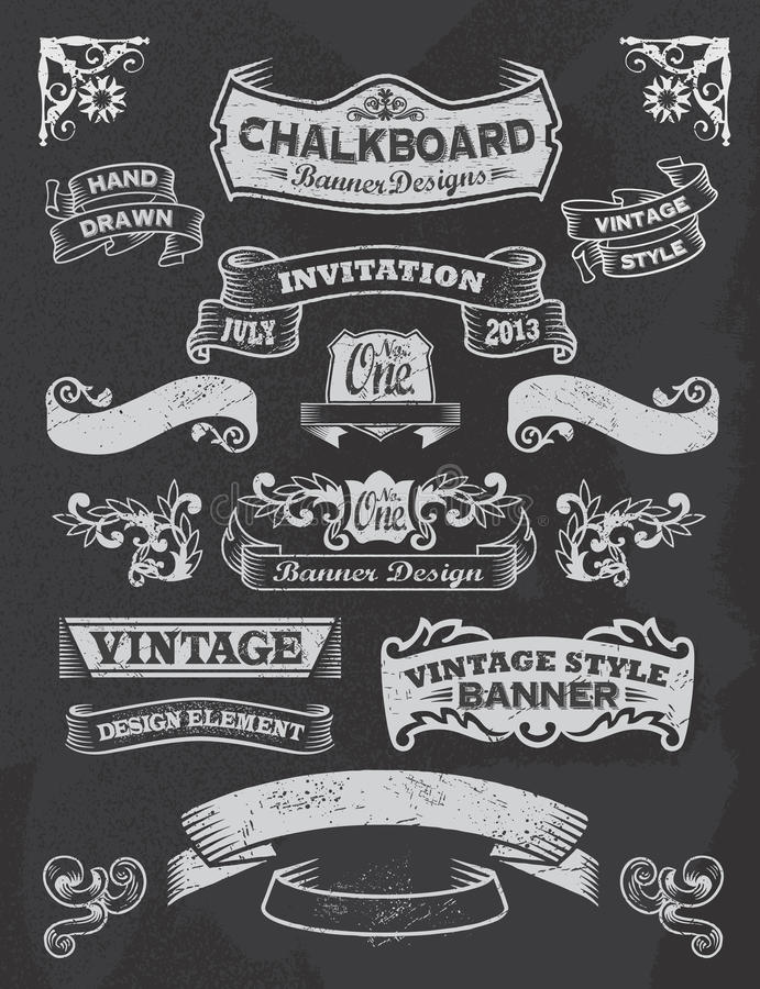 Chalkboard banner and ribbon design set on a black royalty free illustration