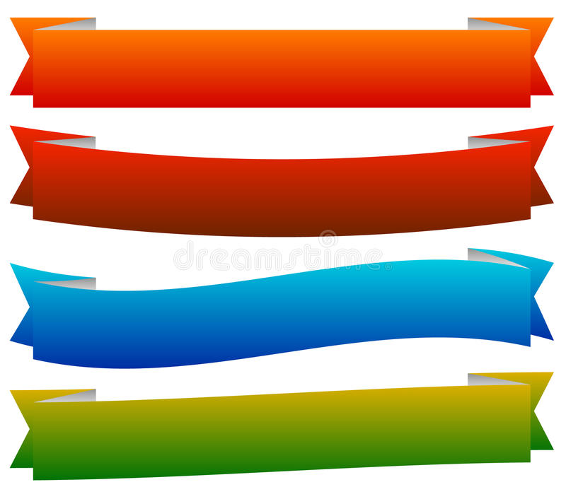Banner / ribbon templates in dynamic style. 6 colors. Royalty free vector illustration stock illustration