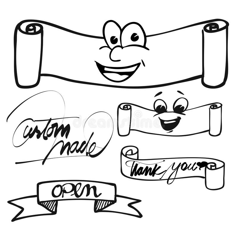 Banner and Ribbons with Eyes and Fonts royalty free illustration