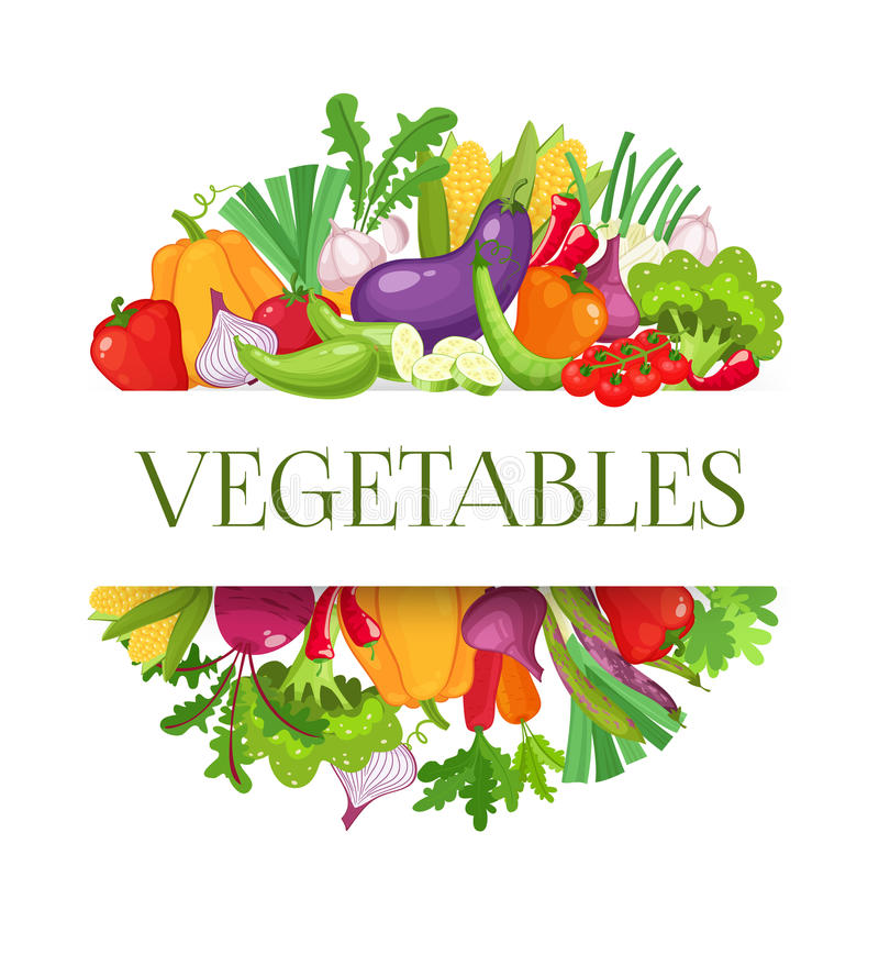 Banner round composition with colorful vegetables for farmers market menu design. Healthy food concept. Vector royalty free illustration