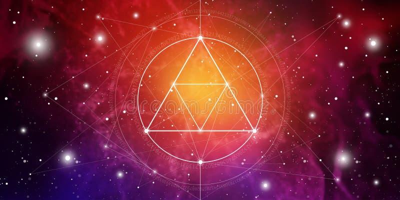 Banner sagrado del sitio web de geometría con números de relación dorada, símbolo de eternidad, círculos y cuadrados interconecta stock de ilustración