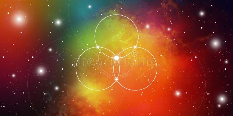 Banner sagrado del sitio web de geometría con números de relación dorada, símbolo de eternidad, círculos y cuadrados interconecta ilustración del vector