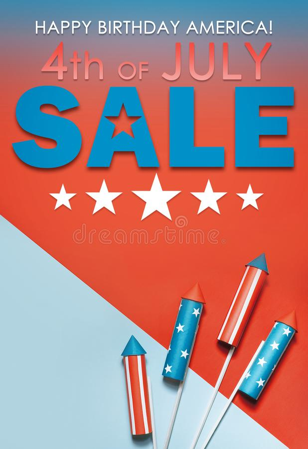 Banner sale in honor of Independence Day celebration on July 4 in America.  royalty free stock photography