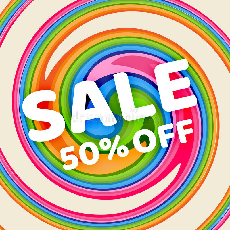 Banner Sale 50% off discount on a bright geometric background Summer colors spiral twisted line Design template advertising vector illustration
