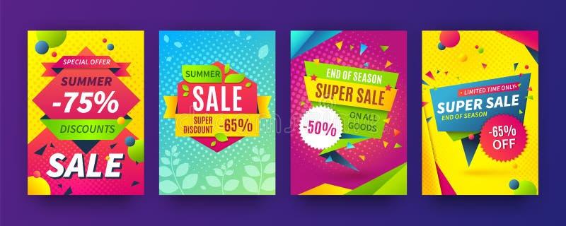 Banner sale poster. Promotion flyer, discount voucher template special offer market brochure. Vector sale labels and set vector illustration