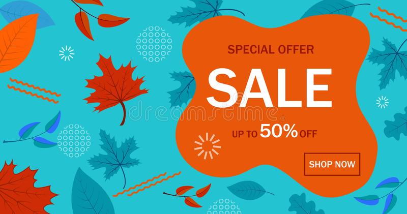 Banner of sale for website. Autumn sale abstract geometric background. Sale promotional material with liquid shape in flat style. vector illustration