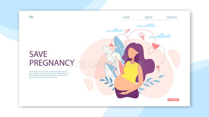 Banner Save Pregnancy With Woman Landing, Flat. Banner Save Pregnancy with Young Woman with Huge Belly. Landing, Flat. Different Areas Motherhood Shown. This is stock illustration