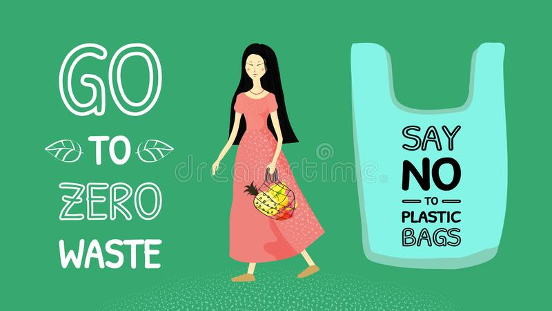 Banner say no to plastic bags, go to wasteless. Asian girl with long black hair in a long pink dress with a string bag with fruit. Vector illustration vector illustration