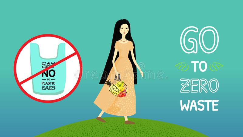 Banner say no to plastic bags, go to zero waste. Asian girl with long black hair in a long yellow dress with a string bag. With fruit. Green hill. Vector stock illustration