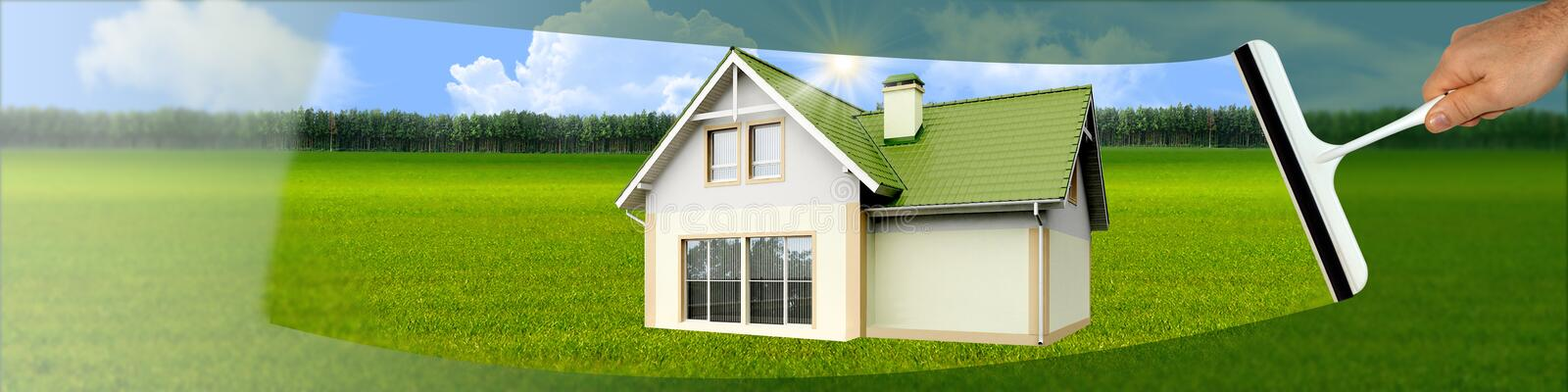 Banner with a scraper for cleaning windows. Banner with a picture of a scraper for cleaning windows with a house on a green background stock images