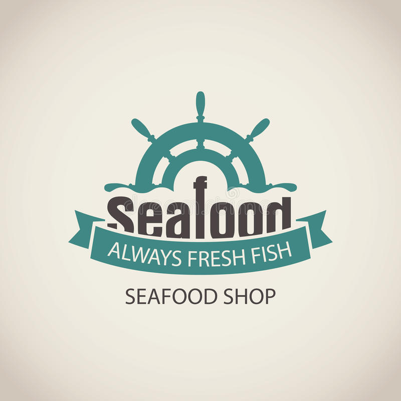 Banner for seafood with ship helm, wave and words. Vector emblem or banner for seafood shop with a ship helm, wave and words always fresh fish on the beige royalty free illustration