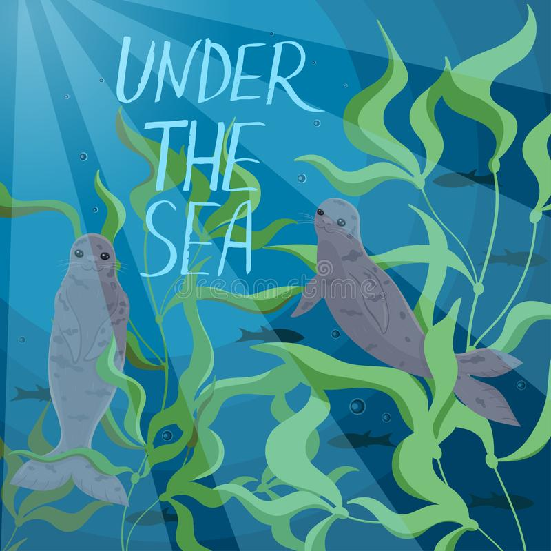 Banner with seals swimming in the sea. Inscription Under the sea .Vector graphics royalty free illustration