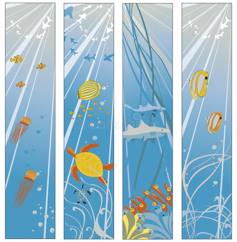 Download Banner set stock vector. Illustration of fish, background - 11065865