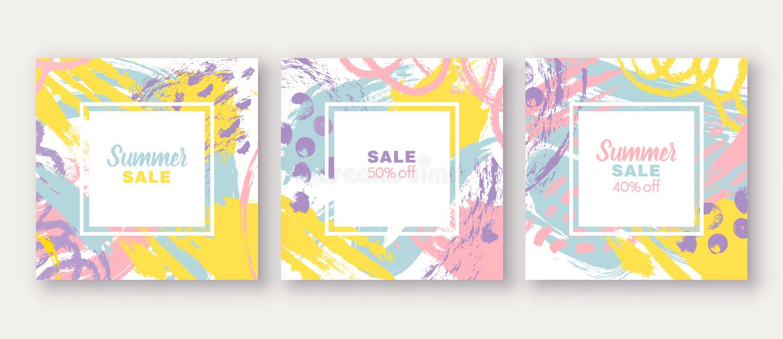 Set of poster, greeting, invitation card, template design, cover, party advertisement, flyer. Square card templates with abstract bright colored paint blotches vector illustration