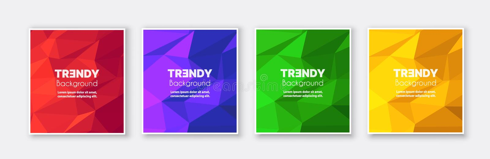 Banner set collection flyer of abstract triangular. Geometric for template page frame sale business card. Trendy cover illustration of vector backdrop. Colorful stock illustration