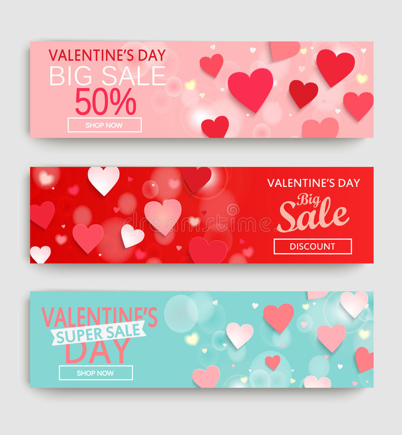 Banner set with discount for Valentine`s Day. vector illustration