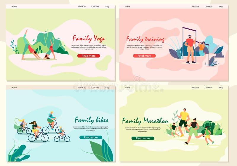 Banner Set Family Yoga, Training, Maratona, Biker royalty illustrazione gratis