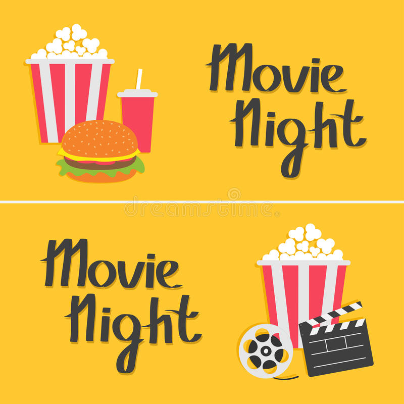 Banner set. Movie reel Open clapper board Popcorn Cinema icon collection. Movie night text. Flat design style. Yellow background. Vector illustration royalty free illustration