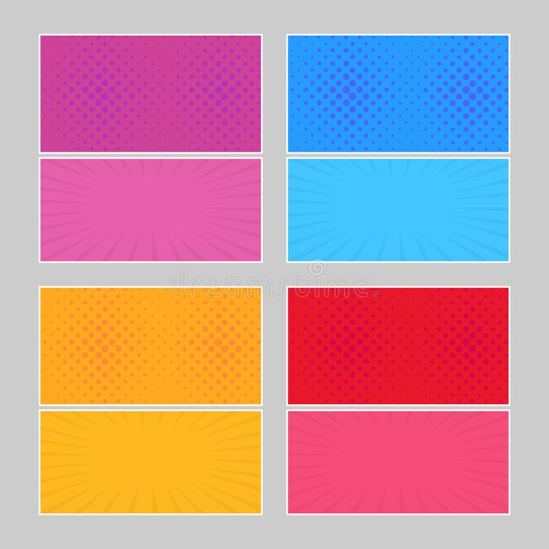 Set of multi colored pop art banners royalty free stock photography