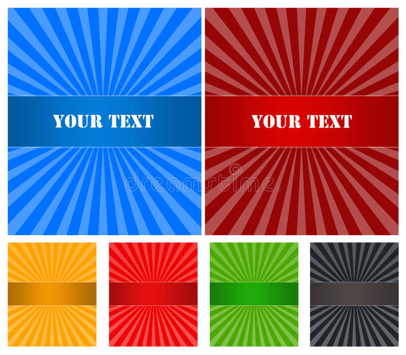 Banner Set With Rays Stock Photography