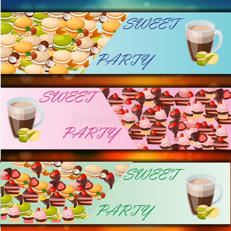 Banner set with sweets. Very high quality original trendy vector banner set with sweets and cup of coffee stock illustration