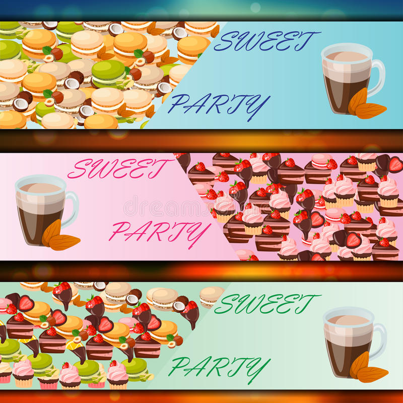 Banner set with sweets. Very high quality original trendy vector banner set with sweets and cup of coffee vector illustration