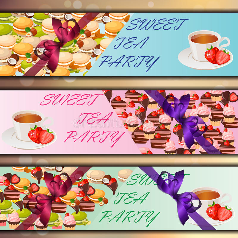Banner set with sweets. Very high quality original trendy vector banner set with sweets and cup of tea stock illustration