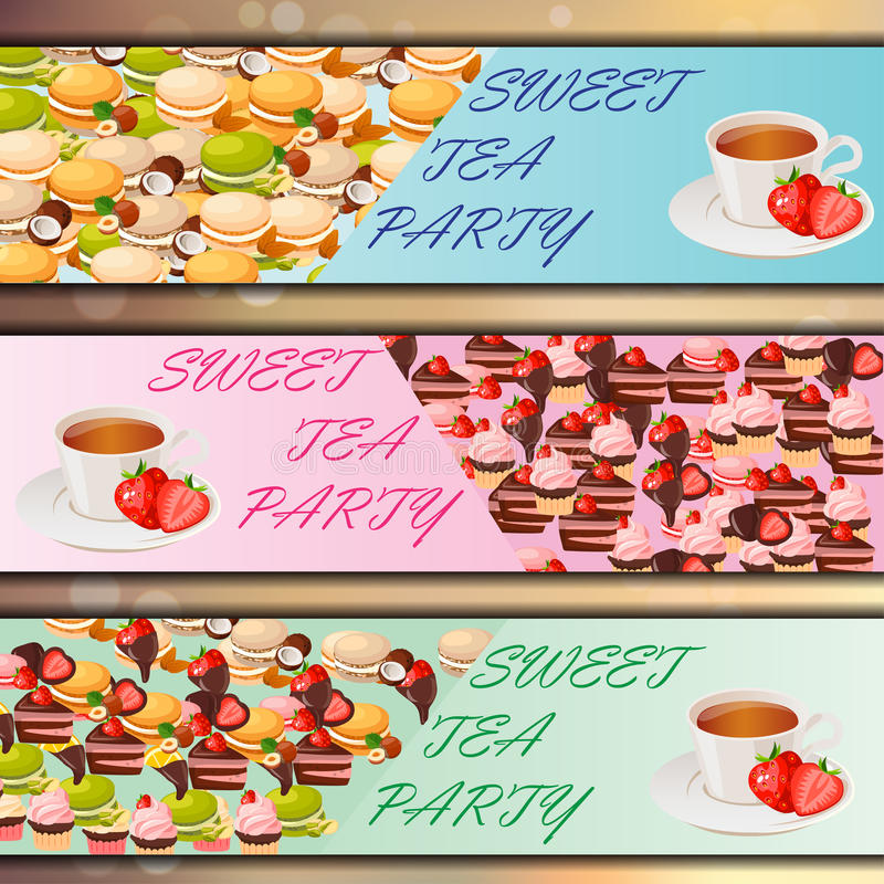 Banner set with sweets. Very high quality original trendy vector banner set with sweets and cup of tea vector illustration